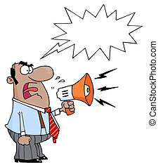 Angry African American Boss Man Screaming Into Megaphone, ...