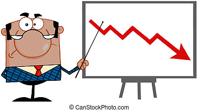 Angry African American Business Manager With Pointer Presenting A Falling Arrow