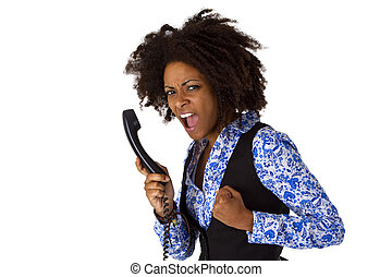 Angry african american woman with handset