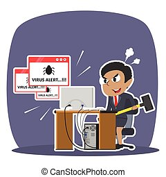 Angry african businesswoman want to break computer because virus illustration design