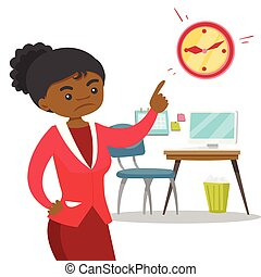 Angry african employer pointing to time on clock