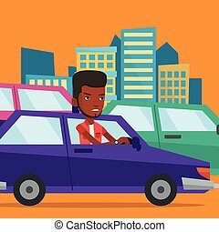Angry african man in car stuck in traffic jam.
