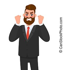 Angry aggressive, frustrated businessman raising fists. Man ...
