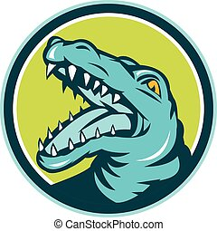 Angry Alligator Head Snout Circle Retro