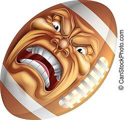 Angry American Football Ball Sports Cartoon Mascot