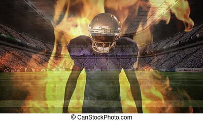 Angry american football of player with fire behind him