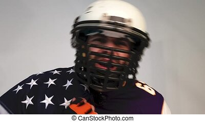 Angry American Football Player swears at the camera
