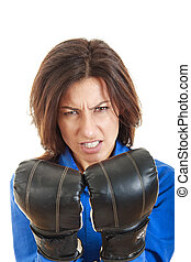 confident young business or casual woman in boxing concept