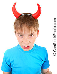 Kid with Devil Horns - Angry and Naughty Kid with Devil ...