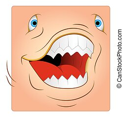 Angry Animal Attack Box Smiley Face Vector Illustration