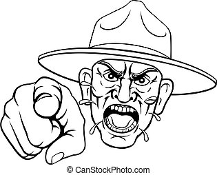 Angry Army Bootcamp Drill Sergeant Cartoon