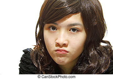 Angry Asian girl isolated on white background