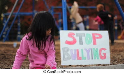 Angry Asian Girl With Stop Bullying - An angry little Asian...