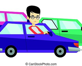 Angry asian man in car stuck in traffic jam.