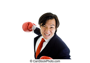 Angry Asian Man Suit Boxing Glove Punching Isolated White