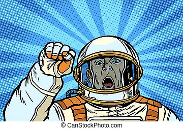 angry astronaut cosmonaut protester, rally resistance...