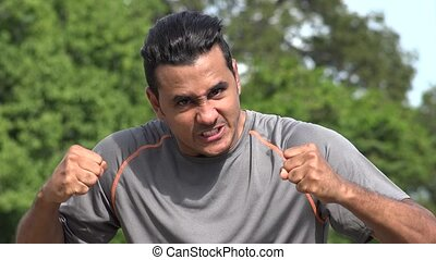 Angry Athletic Hispanic Adult Male