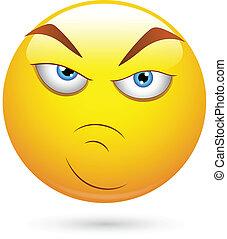 Angry Attitude Smiley Face - Creative Abstract Conceptual...