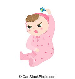 Angry baby with kinky hair sitting in pink pajama. Vector illustration in flat cartoon style.