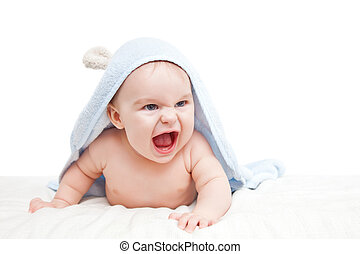 Angry baby with towel on white
