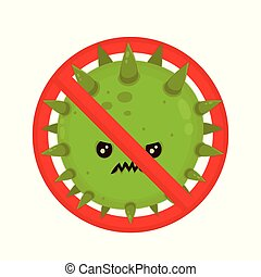Angry bacterium in prohibition sign. Evil