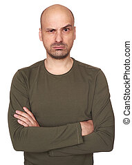 Angry bald man portrait. Isolated