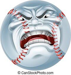 Angry Baseball Ball Sports Cartoon Mascot