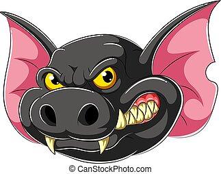 Angry Bat head cartoon mascot
