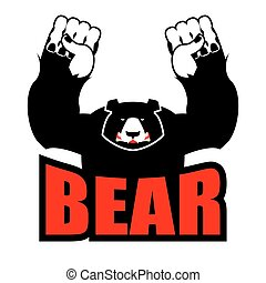 Angry bear. Aggressive Grizzly. Logo big beast. wrathful  wild animal. logo for sports team.