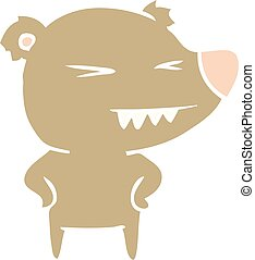 angry bear flat color style cartoon with hands on hips