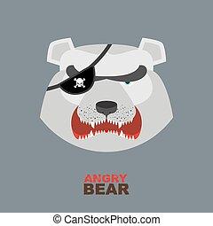 Angry bear head mascot. Bear head l
