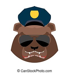 Angry bear in police cap. Aggressive Grizzly head. Wild animal muzzle isolated. Forest predator