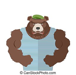 Angry bear in striped vest. Russian bear defender in a green beret with large muscles. Vector illustration