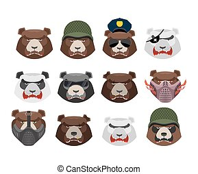 Angry bear set. Aggressive Grizzly head. Wild animal muzzle isolated. Forest predator
