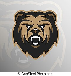 Angry Bear symbol, emblem, sport logo.