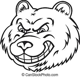 Angry bear in cartoon style isolated on white background....