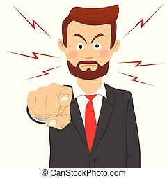 Angry bearded business man pointing his finger at you