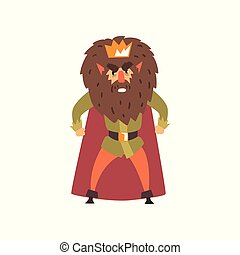 Angry bearded king character cartoon vector Illustration on a white background