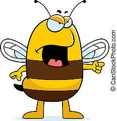 Angry Bee - A cartoon bee with an angry expression.