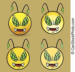 Angry Bee Monster Smiley Mascot Set