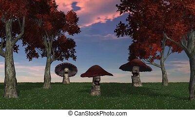 angry big brown mushrooms appear and die - video screen