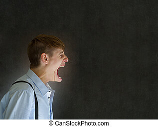 Angry big mouth man shouting on blackboard background -...