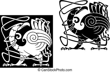 Angry bird in celtic style with ornamental patterns and...