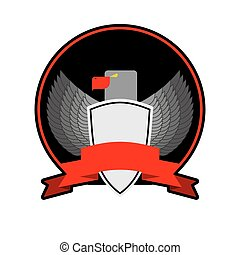 angry Bird with shield in black circle, with a Red Ribbon. Military emblem or coat of arms. Heraldic symbol. Vector illustration of an eagle.