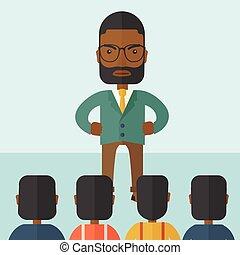 Angry black boss facing at his employees.