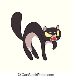 Angry black cat cartoon character vector Illustration on a white background