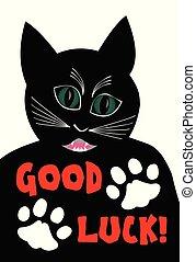 Angry black cat wishing good luck. Cartoon of black tomcat...