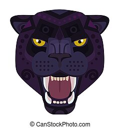 Angry black panther head Logo. Wild cat vector decorative Emblem.
