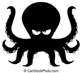 Angry Black Silhouettes Of Octopus Cartoon Mascot Character