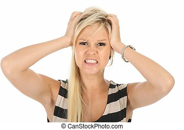 Angry Blond Beauty Woman